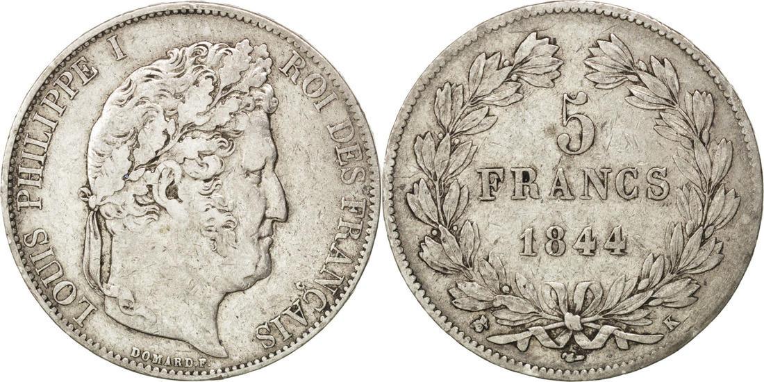 5 Francs 1844 K Frankreich Louis-Philippe VF(30-35)