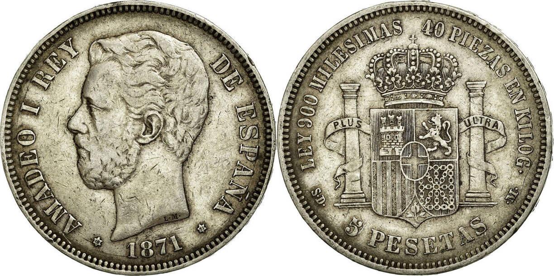 5 Pesetas 1871 Spanien Amadeao I EF(40-45)