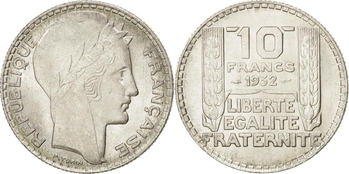 10 Francs 1932 Frankreich Turin MS(65-70)