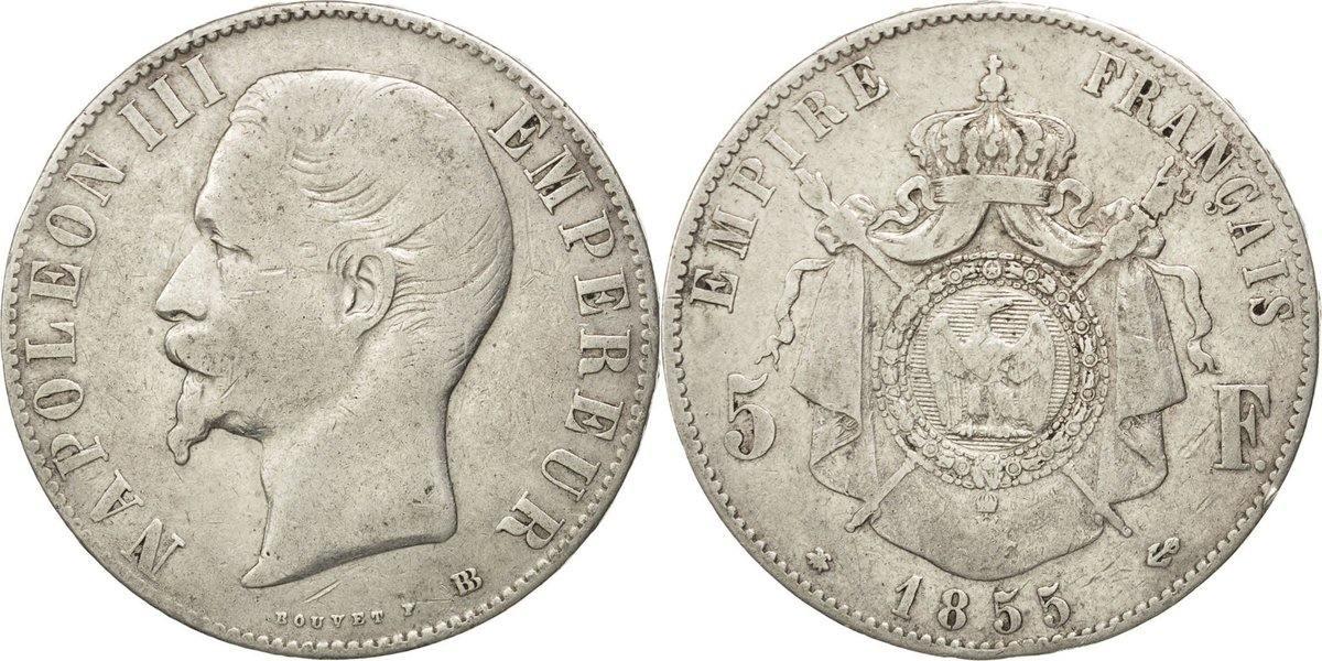 5 Francs 1855 BB Frankreich Napoléon III Napoleon III VF(30-35)