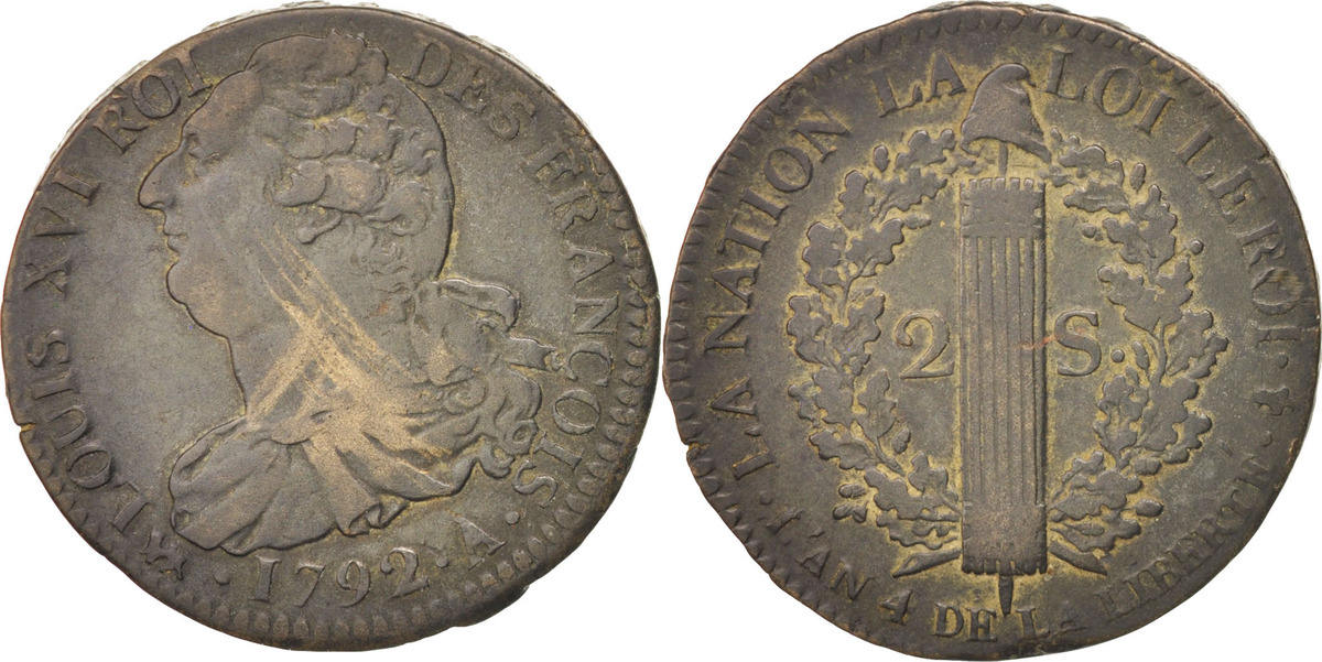2 Sols 1792 A Frankreich 2 sols françois VF(30-35)