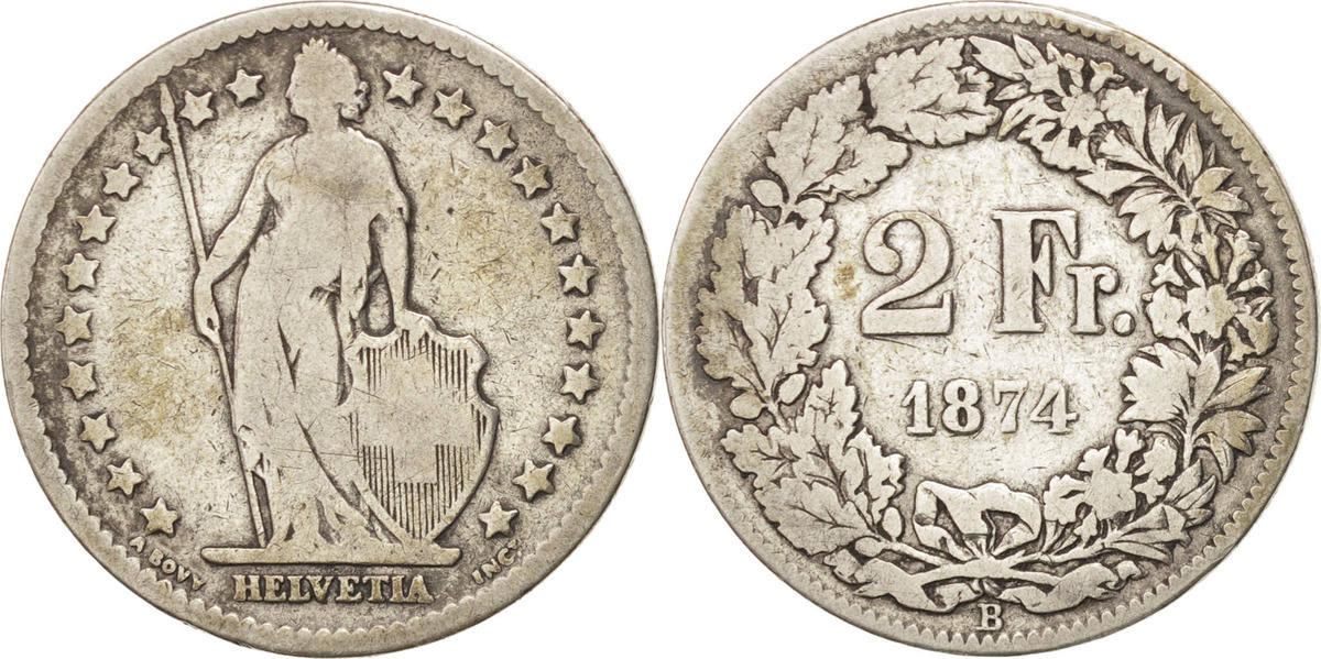 2 Francs 1874 B Schweiz VF(20-25)