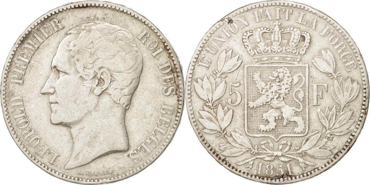 5 Francs, 5 Frank 1851 Belgien Leopold I VF(30-35)