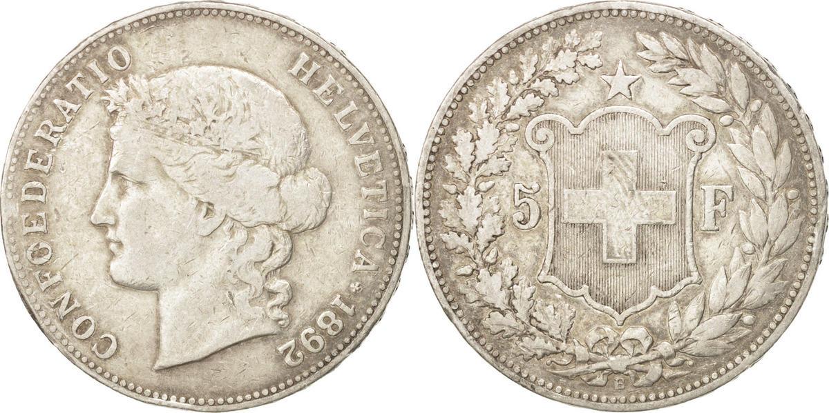 5 Francs 1892 B Schweiz VF(20-25)
