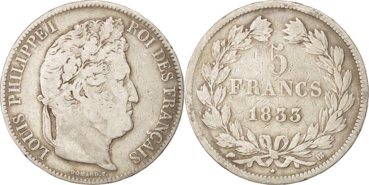 5 Francs 1833 BB Frankreich Louis-Philippe VF(20-25)