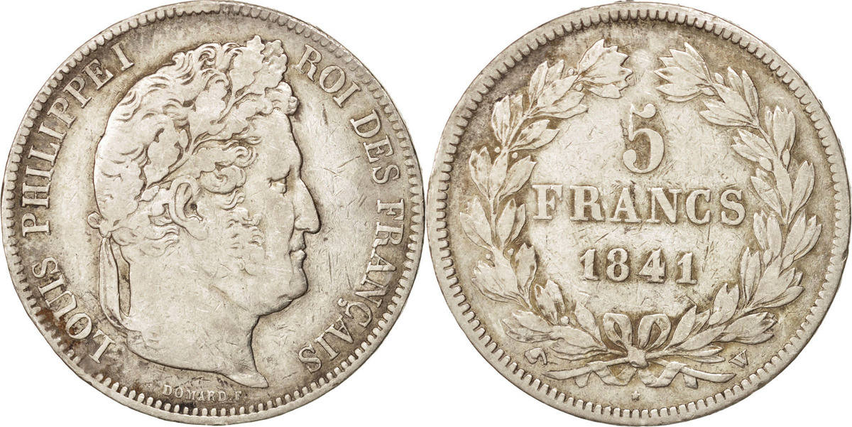 5 Francs 1841 W Frankreich Louis-Philippe VF(20-25)