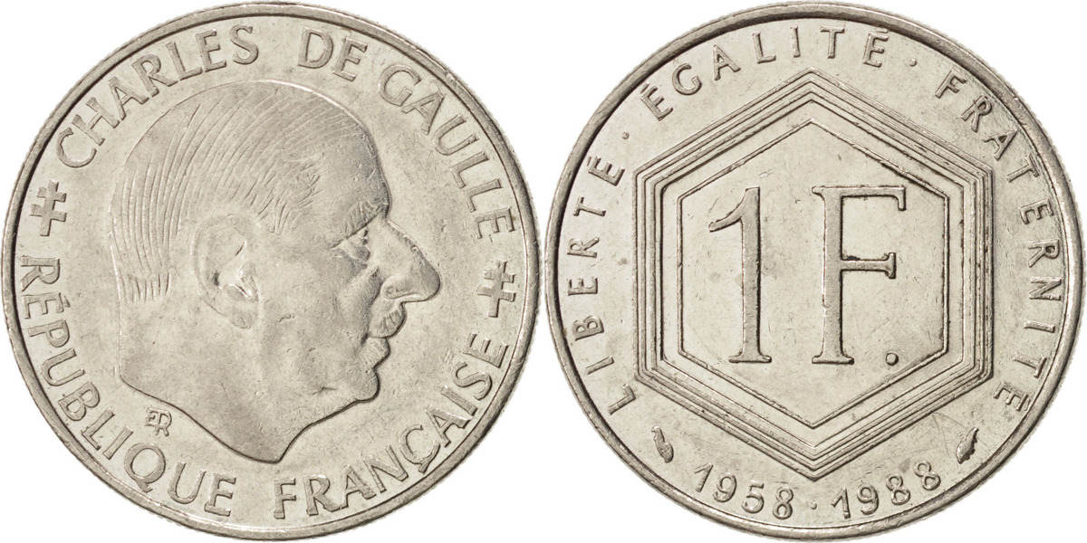 Franc 1988 Frankreich 30th Anniversary of Fifth Republic Charles de Gaulle EF(40-45)