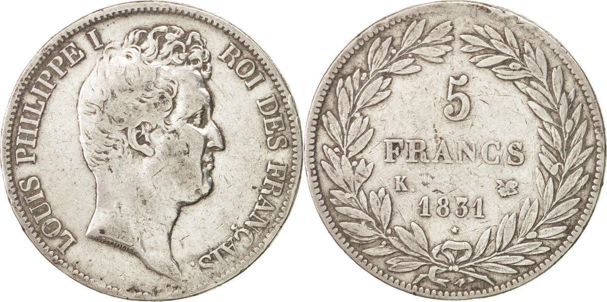 5 Francs 1831 K Frankreich Louis-Philippe EF(40-45)