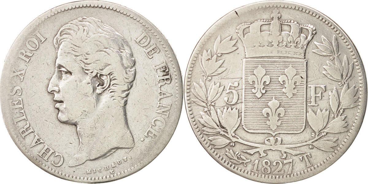 5 Francs 1827 T Frankreich Charles X VF(30-35)