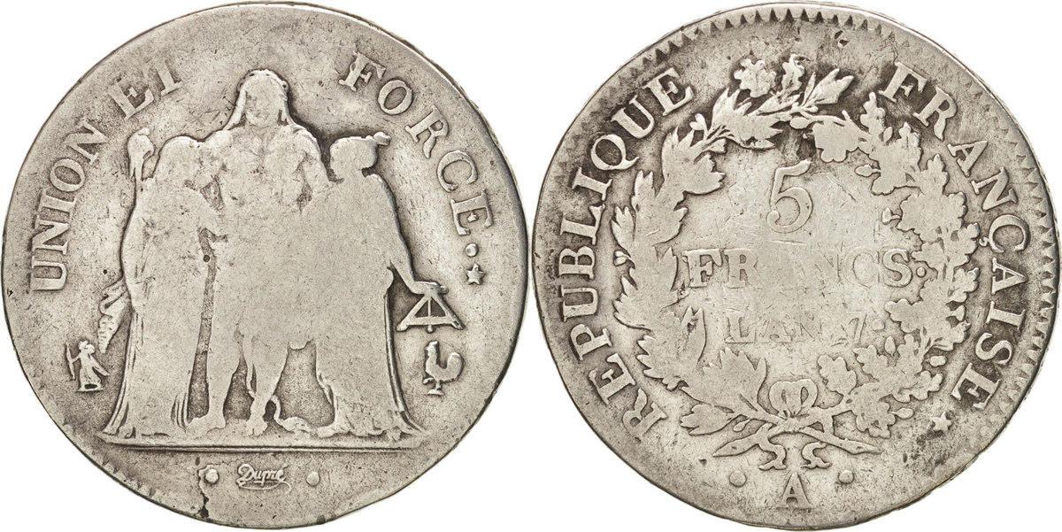 5 Francs 1798 A Frankreich Union et Force VF(20-25)