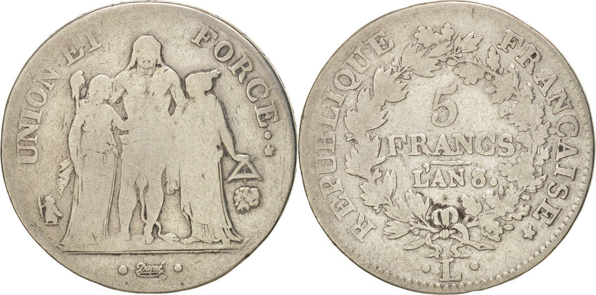 5 Francs 1799 L Frankreich Union et Force VF(20-25)