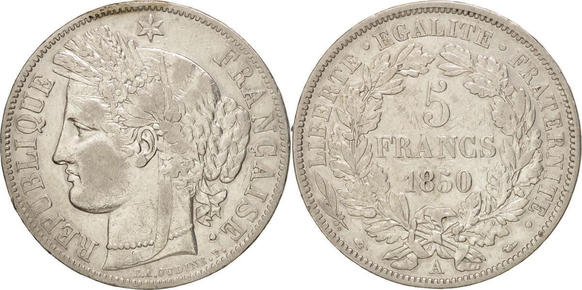 5 Francs 1850 A Frankreich Cérès EF(40-45)