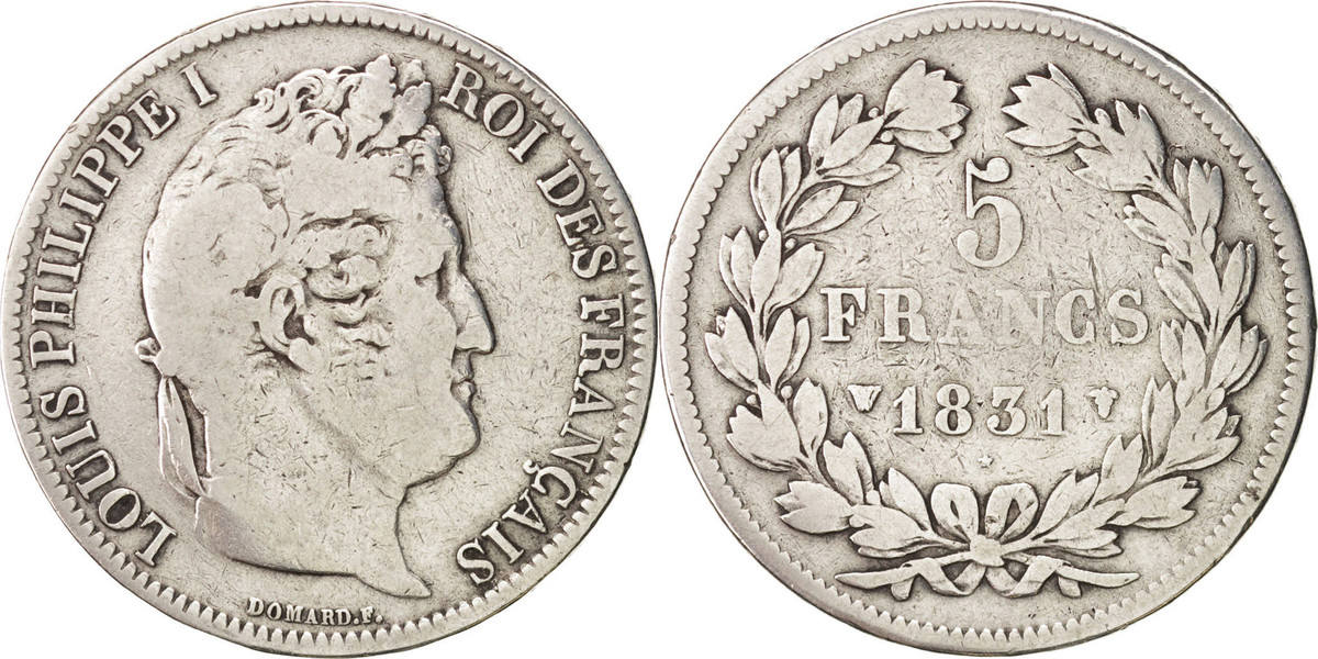 5 Francs 1831 W Frankreich Louis-Philippe VF(20-25)