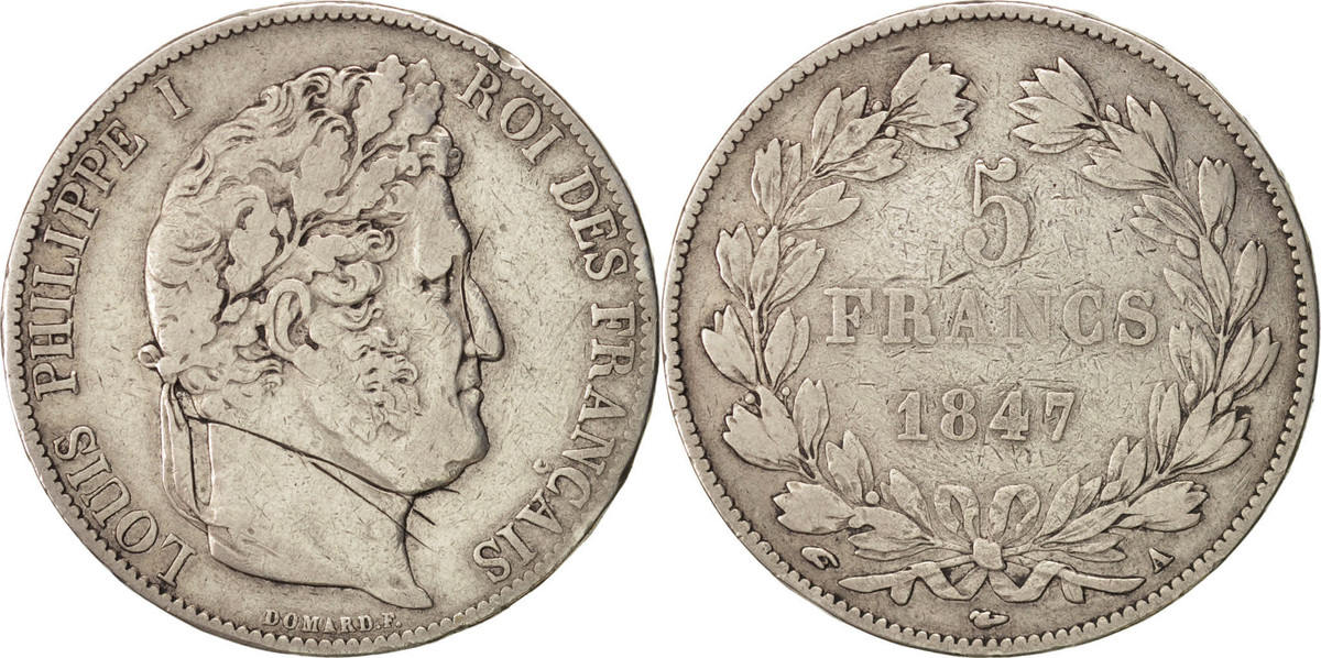 5 Francs 1847 A Frankreich Louis-Philippe VF(30-35)