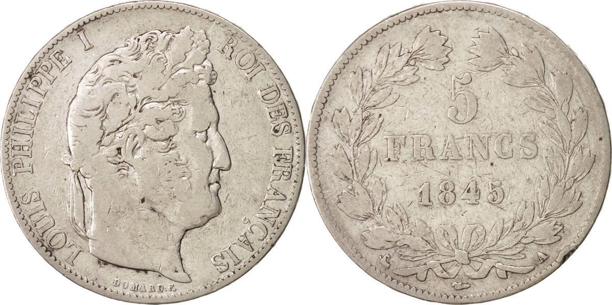 5 Francs 1845 A Frankreich Louis-Philippe VF(20-25)
