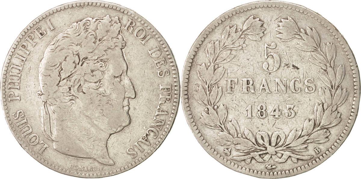 5 Francs 1843 B Frankreich Louis-Philippe VF(20-25)