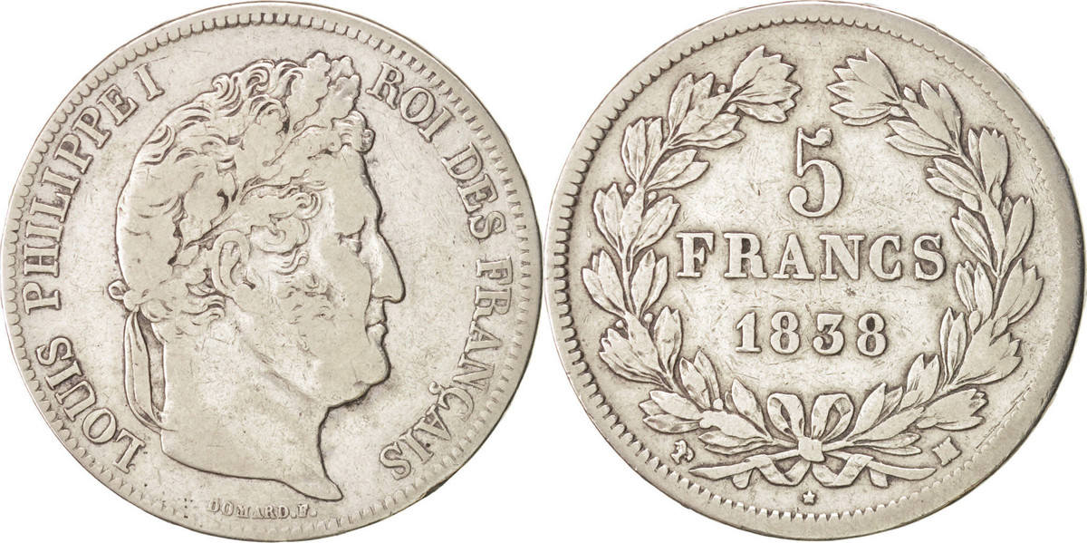 5 Francs 1838 MA Frankreich Louis-Philippe VF(20-25)