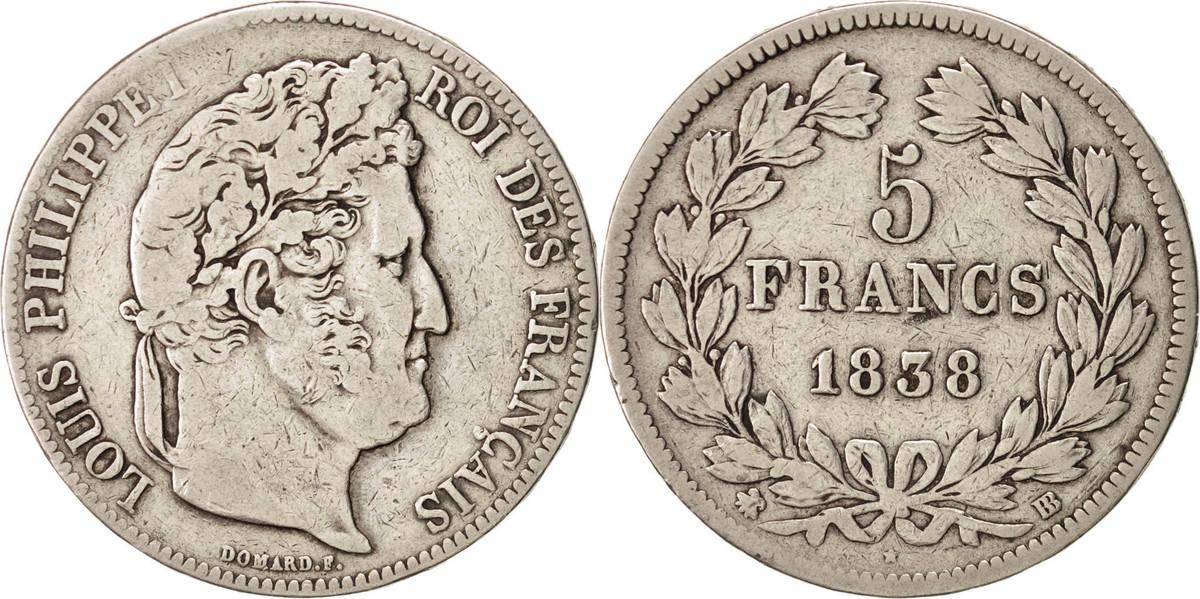 5 Francs 1838 BB Frankreich Louis-Philippe VF(20-25)