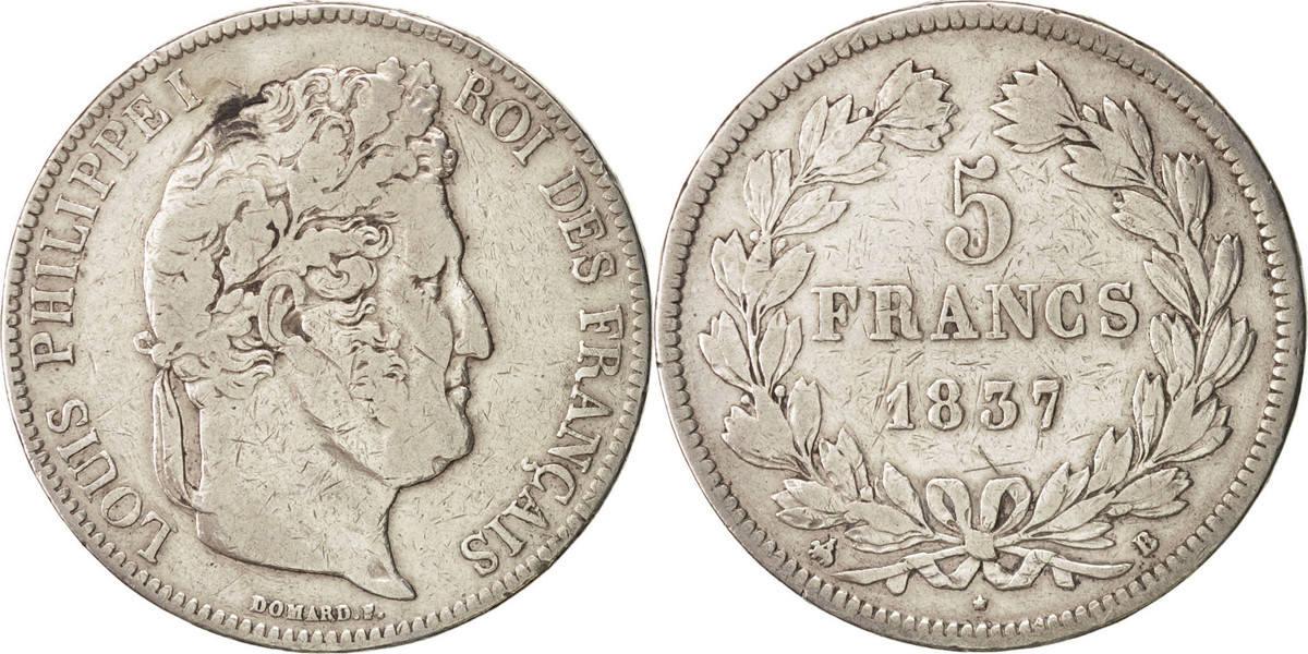 5 Francs 1837 B Frankreich Louis-Philippe VF(30-35)