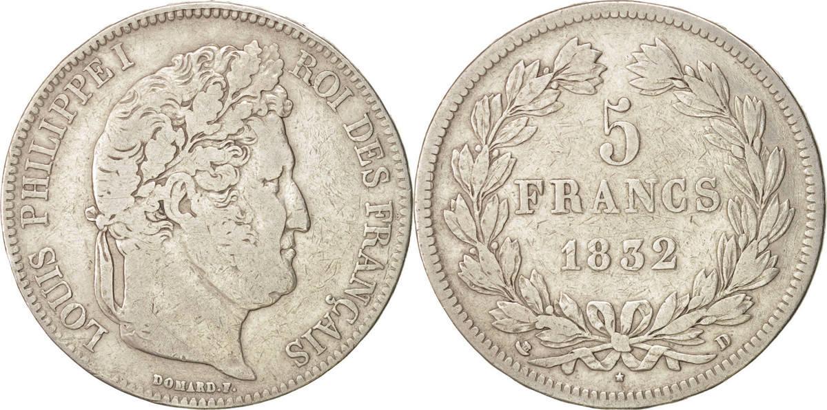 5 Francs 1832 D Frankreich Louis-Philippe VF(20-25)
