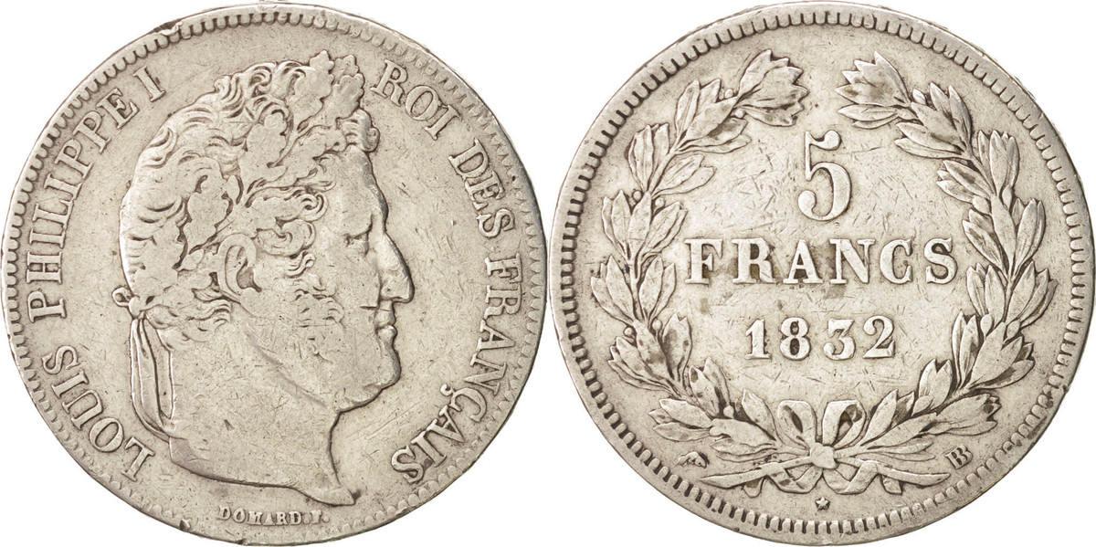 5 Francs 1832 BB Frankreich Louis-Philippe VF(30-35)