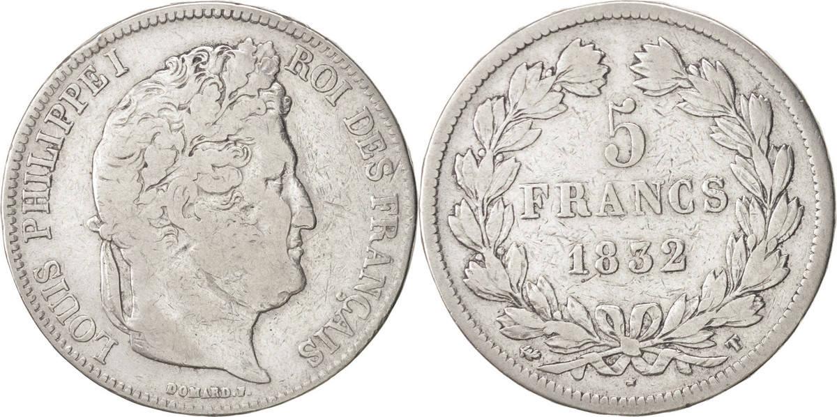 5 Francs 1832 T Frankreich Louis-Philippe VF(20-25)