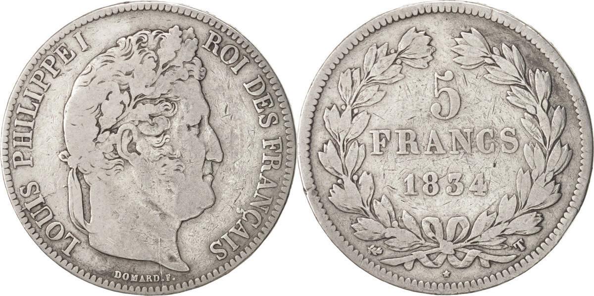 5 Francs 1834 T Frankreich Louis-Philippe VF(20-25)