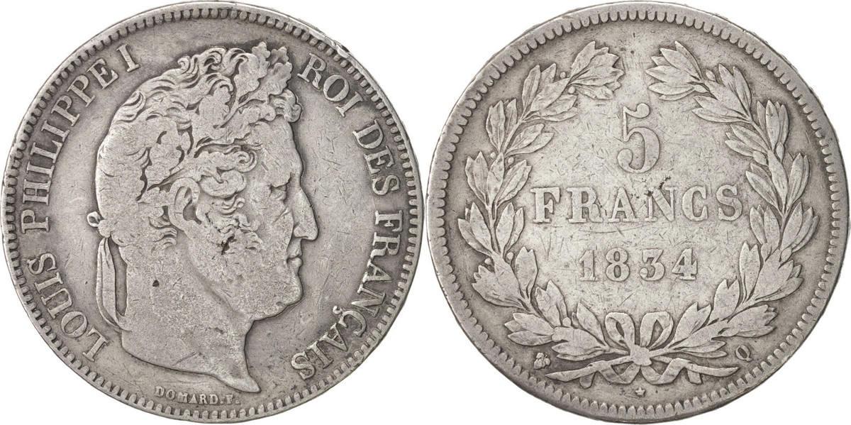 5 Francs 1834 Q Frankreich Louis-Philippe VF(20-25)