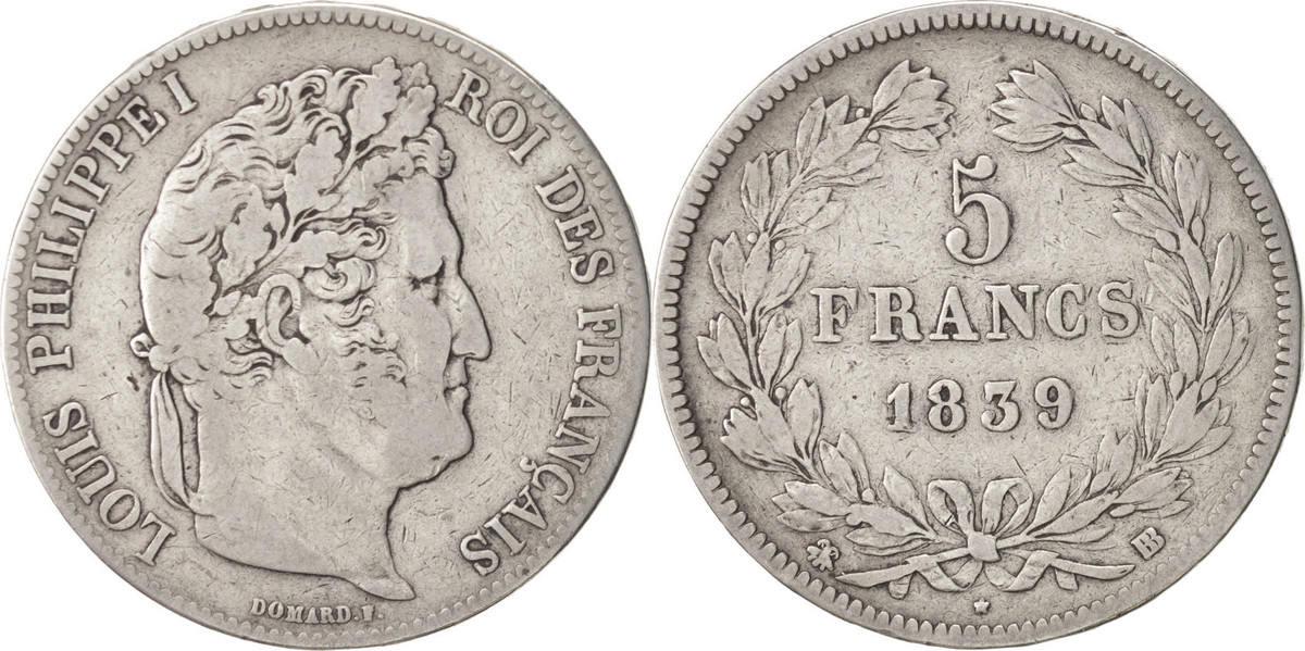 5 Francs 1839 BB Frankreich Louis-Philippe VF(20-25)