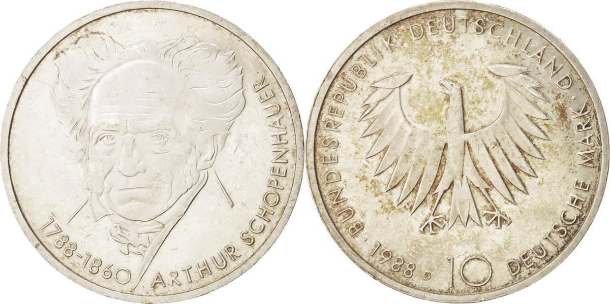 10 Mark 1988 D Bundesrepublik Deutschland 200th Anniversary - Birth of Arthur Schopenhauer MS(60-62)