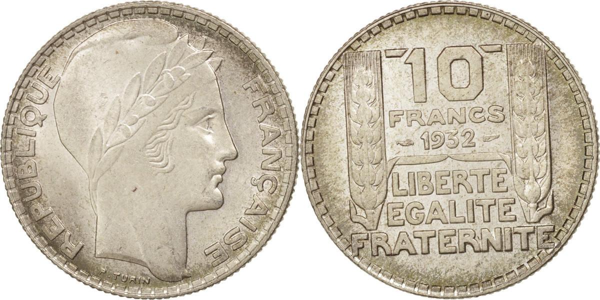 10 Francs 1932 Paris Frankreich Turin MS(60-62)