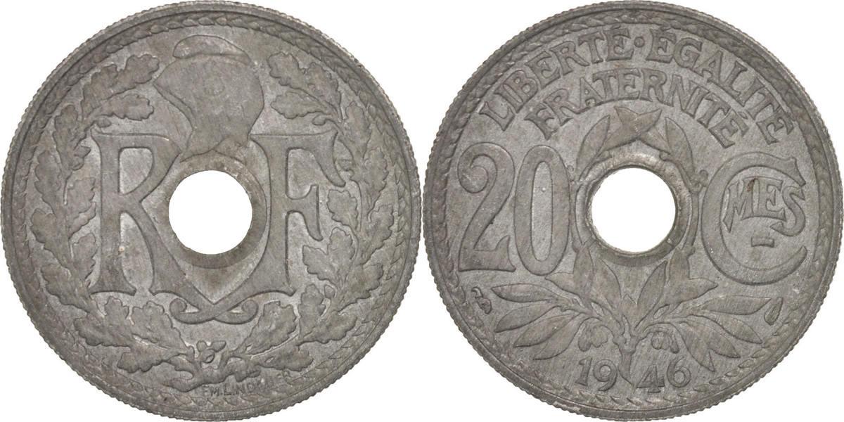 20 Centimes 1946 Frankreich Lindauer AU(55-58)
