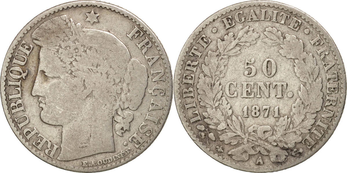 50 Centimes 1871 A Frankreich Cérès VF(20-25)