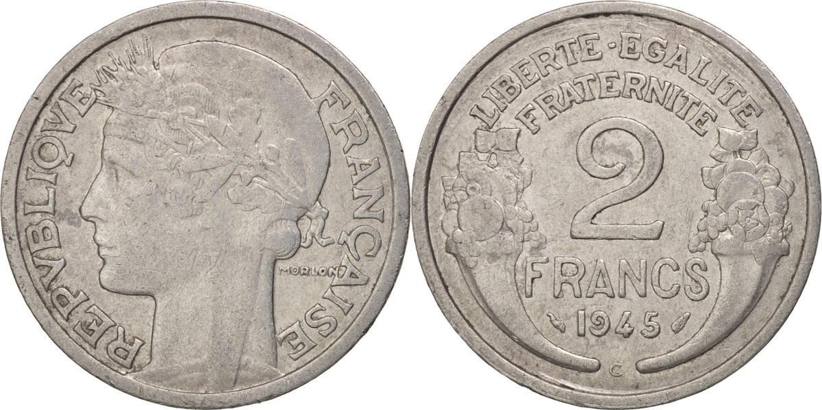 2 Francs 1945 C Frankreich Morlon EF(40-45)