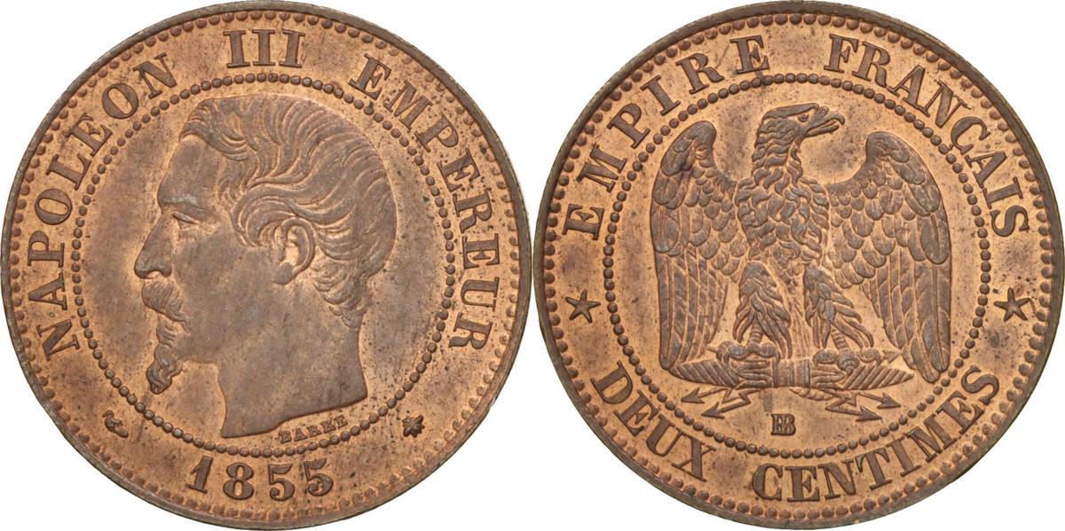 2 Centimes 1855 BB Frankreich Napoléon III Napoleon III MS(60-62)