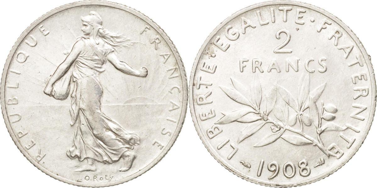 2 Francs 1908 Paris Frankreich Semeuse AU(55-58)