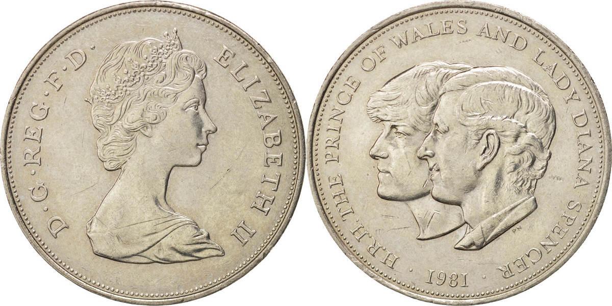 25 New Pence 1981 Großbritannien Wedding of Prince Charles and Lady Diana Elizabeth II MS(60-62)