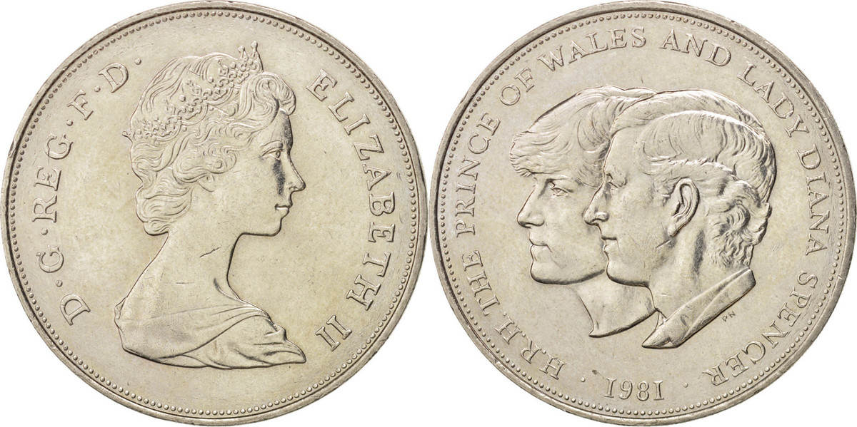 25 New Pence 1981 Großbritannien Wedding of Prince Charles and Lady Diana Elizabeth II MS(60-62)