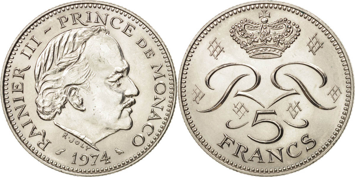 5 Francs 1974 Monaco Rainier III MS(64)