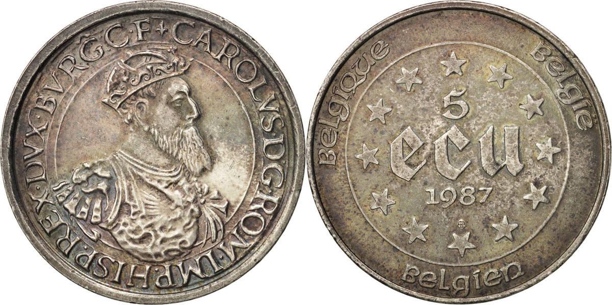 5 Ecu 1987 Belgien 30th Anniversary - Treaties of Rome AU(50-53)