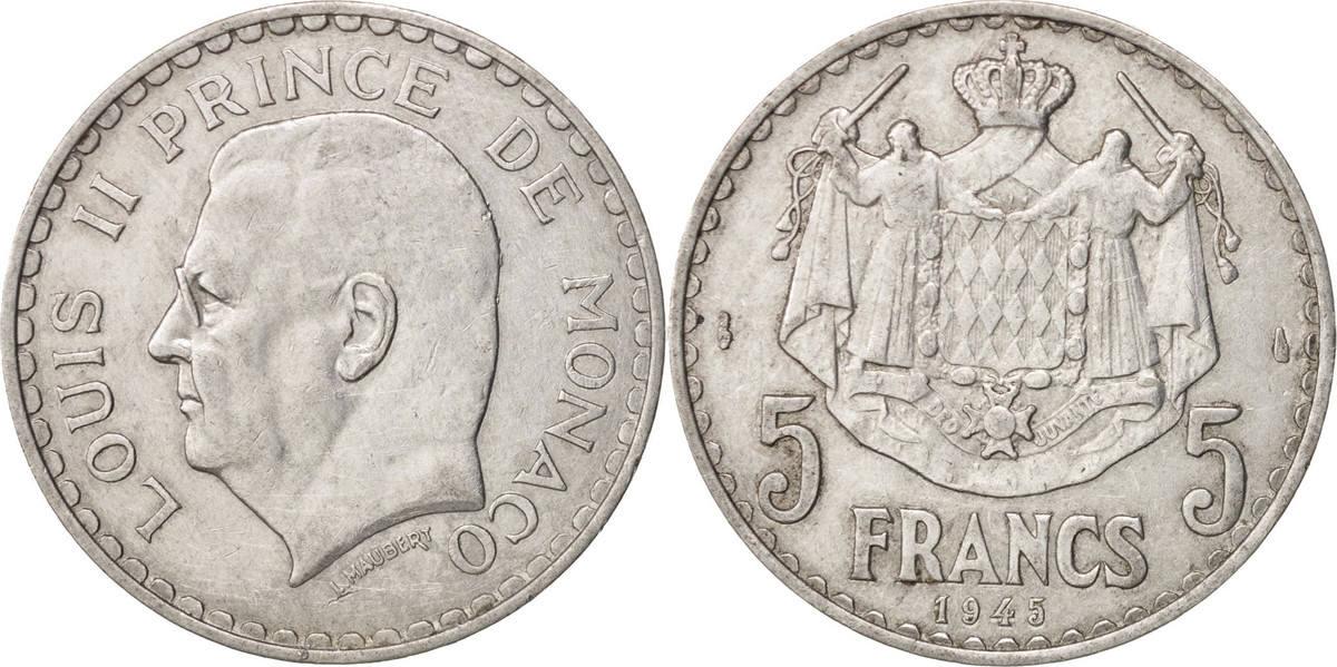 5 Francs 1945 Monaco Louis II AU(50-53)
