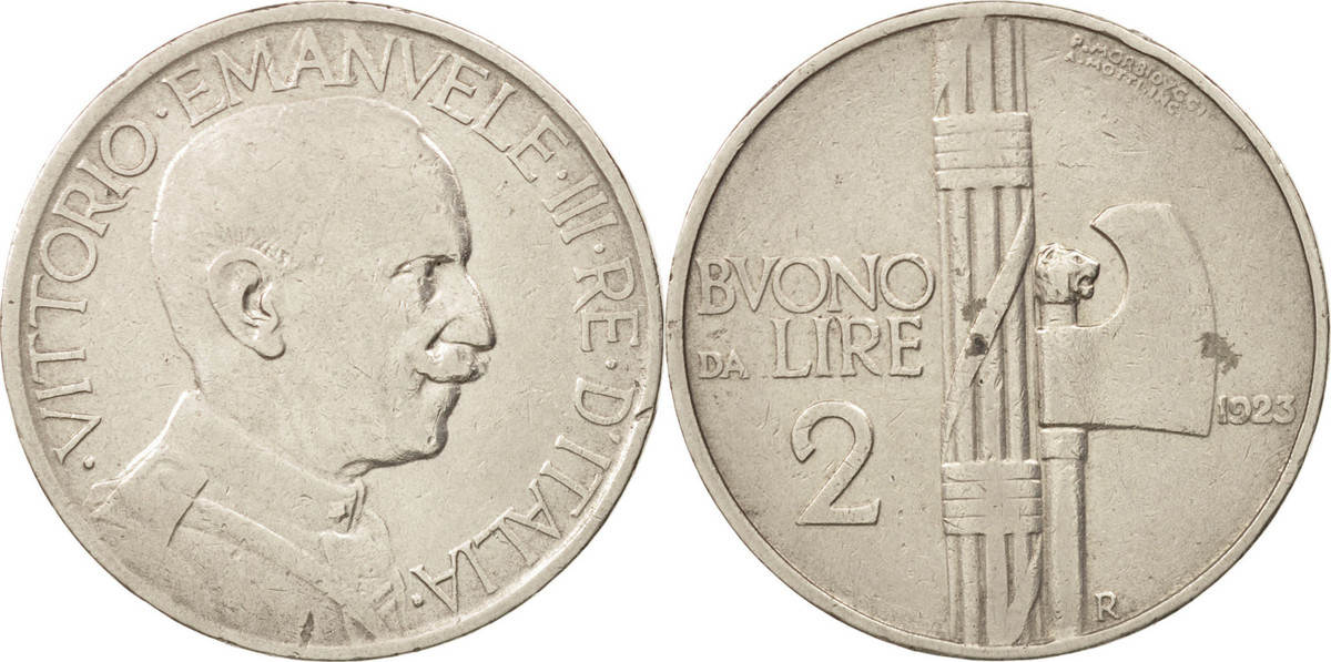 2 Lire 1923 R Italien Vittorio Emanuele III, Rome, Nickel, KM:63 AU(50-53)