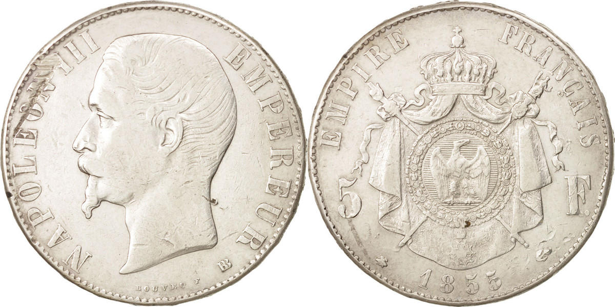 5 Francs 1855 BB Frankreich Napoleon III, Strasbourg, KM 782.2 SS