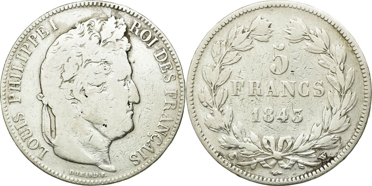 5 Francs 1845 W Frankreich Louis-Philippe, Lille, S+, Silber, KM:749.13 S