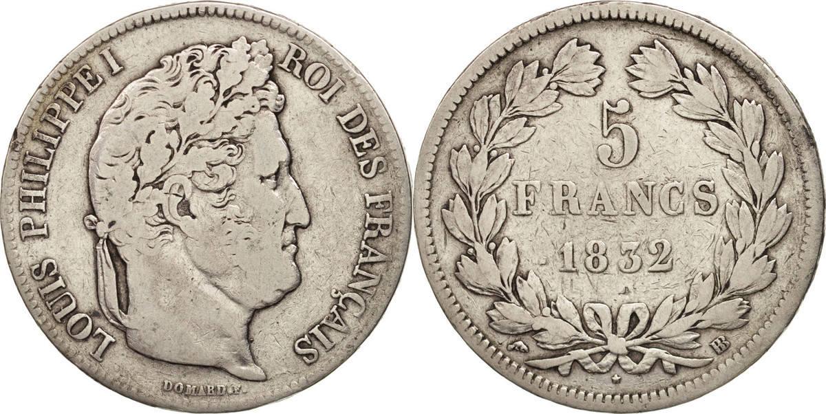 5 Francs 1832 BB Frankreich Louis-Philippe, Strasbourg, S, Silber, KM:749.3 S