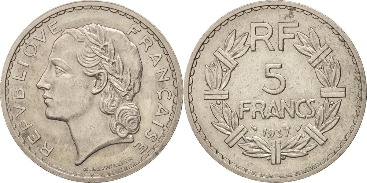 5 Francs 1937 Paris Frankreich Lavrillier, Paris, SS+, Nickel, KM:888, Gadoury:760 SS+