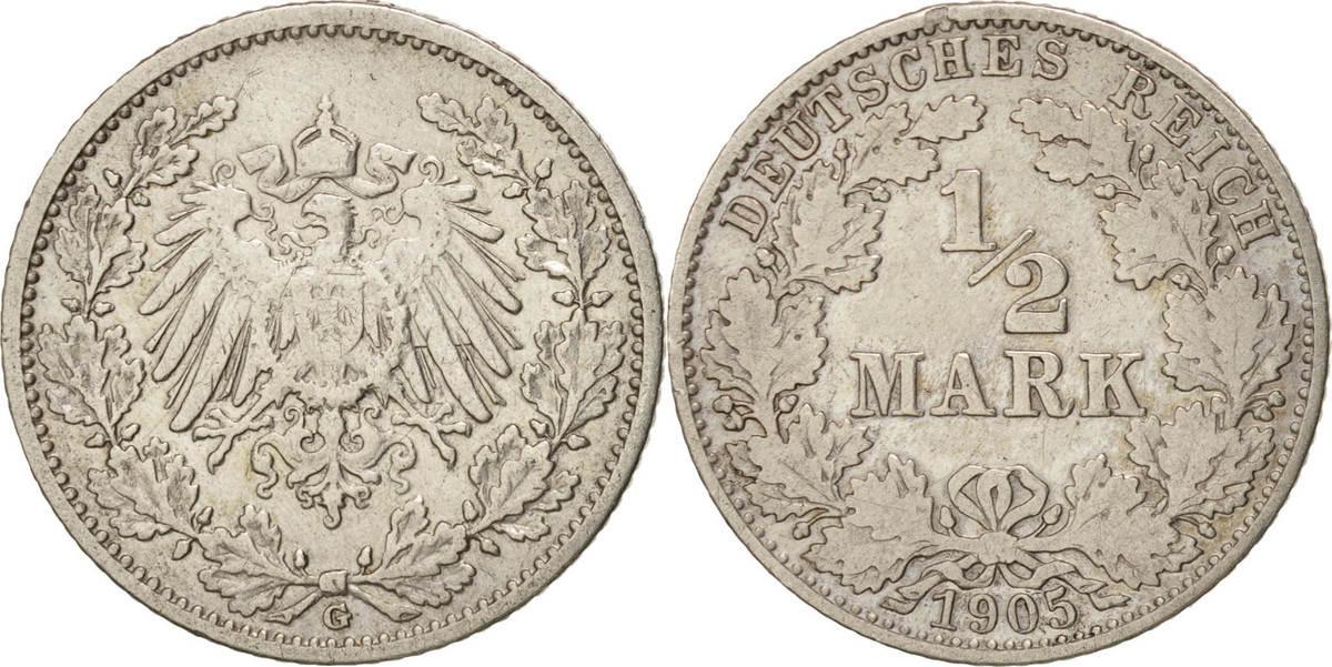 1/2 Mark 1905 G GERMANY - EMPIRE Karlsruhe, SS, Silber, KM:17 SS