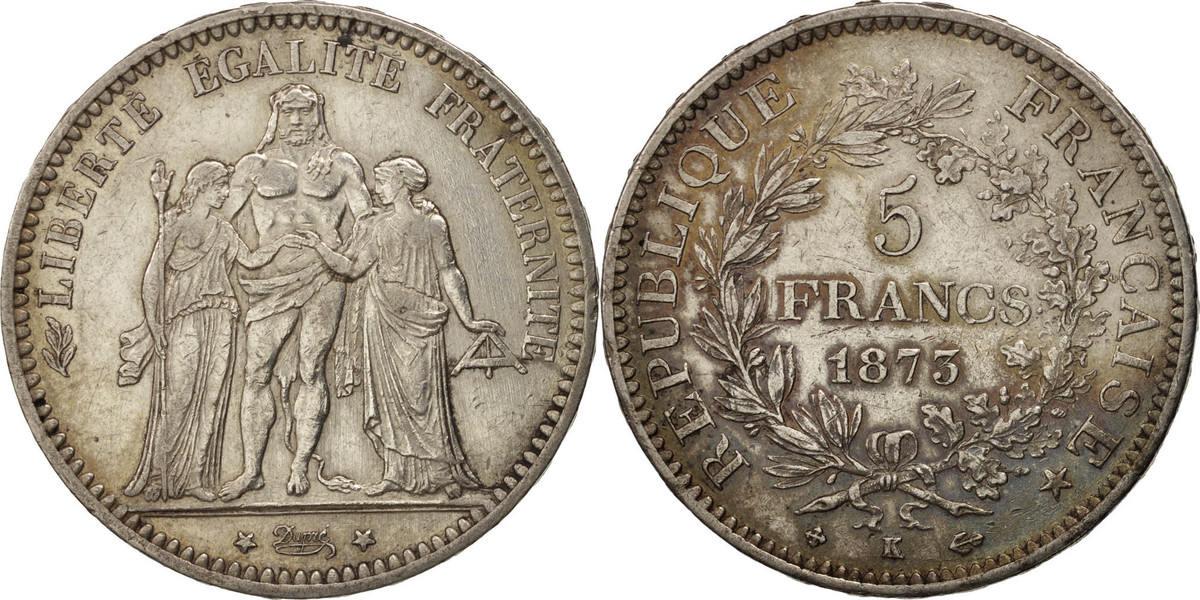 5 Francs 1873 K Frankreich Hercule, Bordeaux, SS+, Silber, KM:820.2 SS+