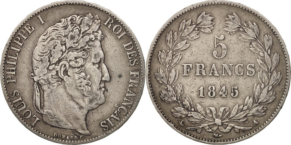 5 Francs 1845 W Frankreich Louis-Philippe, Lille, SS, Silber, KM:749.13 SS