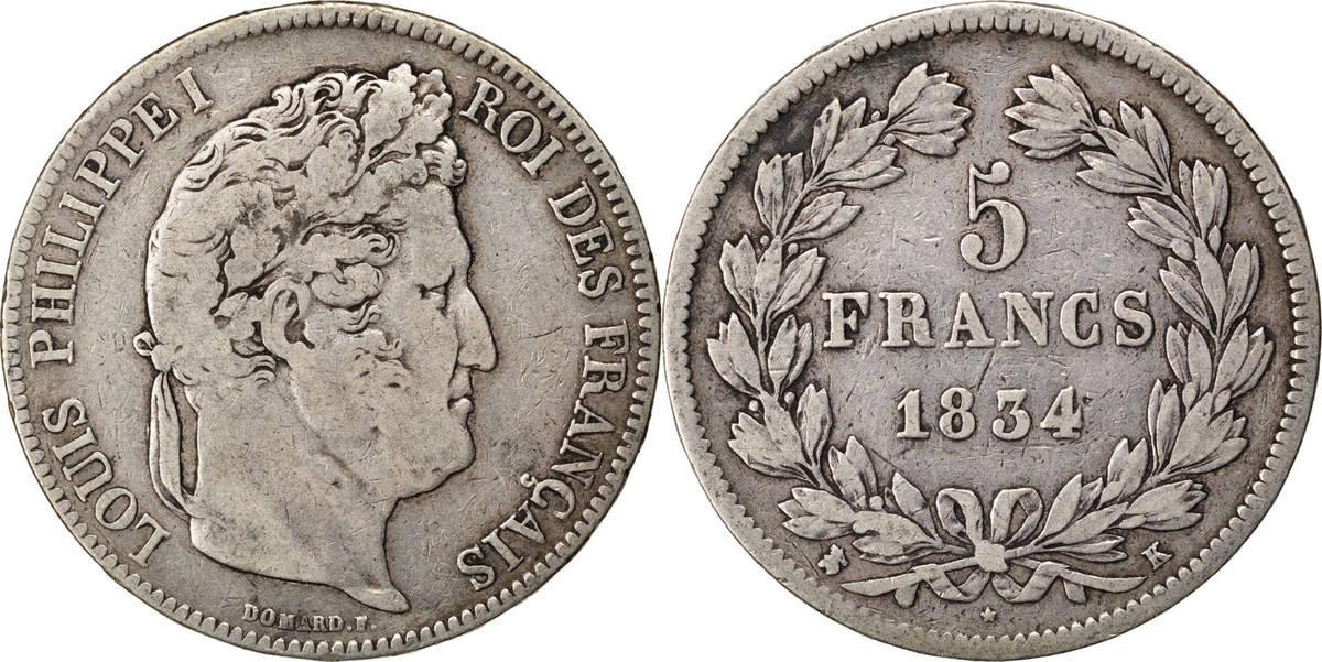 5 Francs 1834 K Frankreich Louis-Philippe VF(20-25)